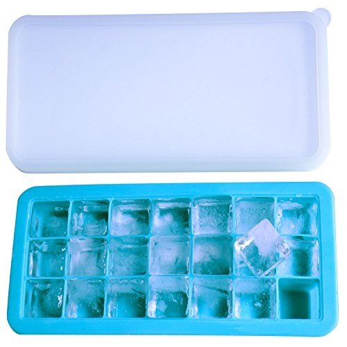 Eiswürfelform,Camkey 21 Cube silikon eiswürfelbehälter,BPA frei Eiswürfel Eiswürfelschalen einfach zu bedienen und waschen für Wasser, Soda, Saft, Wein, Obst, Kräuter, Saucen, Pudding, pürierte Babyna