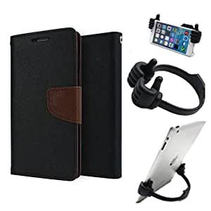 Aart Fancy Diary Card Wallet Flip Case Back Cover For Mircomax A116 - (Blackbrown) + Flexible Portable Mount Cradle Thumb Ok Stand Holder By Aart store