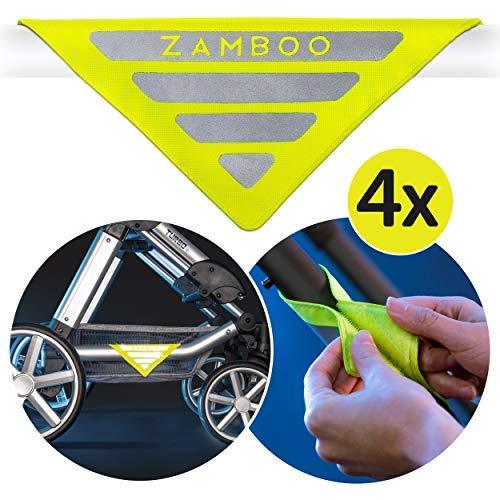 Zamboo Kinderwagen Reflektor Set Universal - 4 Stück Sicherheits-Reflektoren mit Klettverschluss | Ideal für Buggy, Sportwagen, Anhänger und mehr - Neon Gelb
