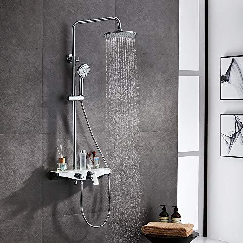 Lonheo Duscharmatur mit Regal und Hahn, 3-Funktion Duschsystem Duschset mit Duschkopf Handbrause Verstellbar Duschstange