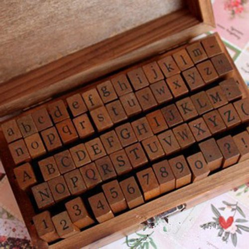 BeautyLife 70pcs Rubber Stamps Vintage Wooden Box Case Alphabet Letters Number Craft