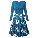 MERICAL Kleid Damen Langarm V-Ausschnitt Kleider Elegantes Ausgestelltes Kleid