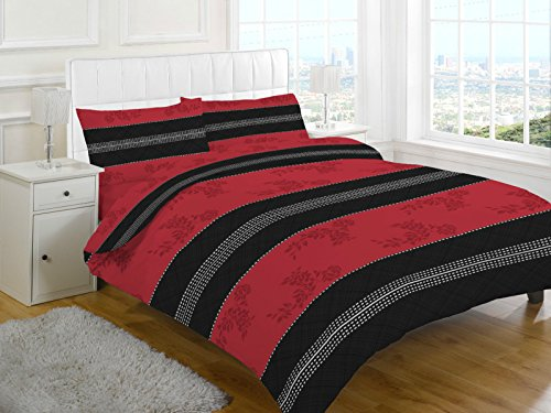 Duvet Cover Set Single Bed With Pillowcase Quilt Bedding Set Reversible Poly Cotton , Annaliese Black/Red