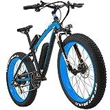 LANKELEISI 26 Zoll All-Terrain Leistungsstark E-Bike Fett 1000 W Motor 48 V10Ah eBike Shimano 7 Speed Snow Mountain MTB Faltbar Elektro-Fahrrad, Schwarz/Blau