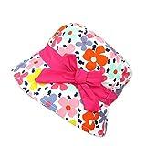 Gifts Treat Cappello da Bambina Estivo Cappello da Sole Cappello Boonie in Cotone Pieghevole (Rosa Cravatta a Farfalla Fiore, 50CM)
