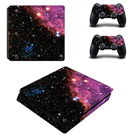 Stillshine PS4 Slim Skin Aufkleber Sticker Design Folie schützende Haut Schale für Sony Playstation 4 Slim Konsole & 2 Dualshock Controller (Starry Pink-Black)