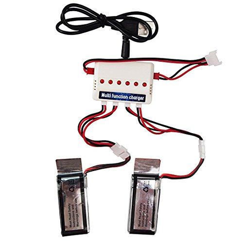 Wwman 2pcs 3.7V 350mah Batterien und 1to3 Ladegerät für UDI U818A WiFi FPV U845A U945 WiFi Rc Quadcopter Drone Ersatzteile