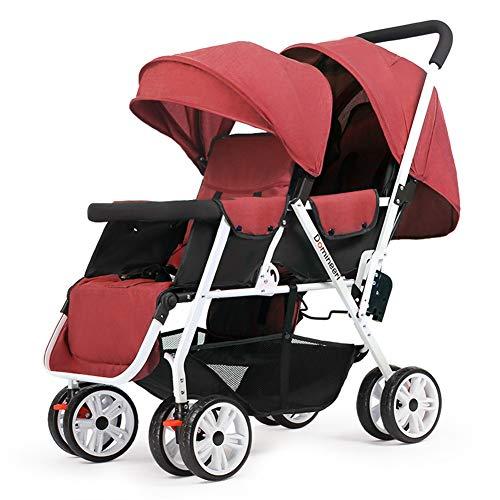 WYX-Stroller Kinderwagen Faltbarer Zwillingskinderwagen, Leichter Zwillingskinderwagen Mit 8 Rollen Kinderwagen, Für 0 Bis 3 Jahre,b