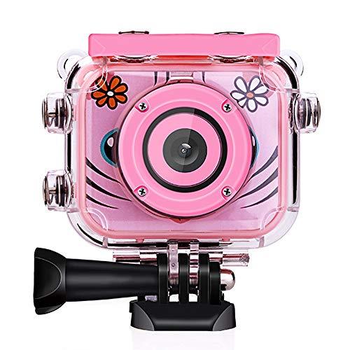POSIVEEK Kinder Kamera HD Wiederaufladbar Digital Kinder Camcorder Unterwasser Action Cam Wasserdicht 30Meter Neujahr Geburtstag Spielzeug Geschenk für Kinder Jungs Mädchen mit 2.0 LCD Bildschirm-Pink