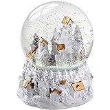 """WeRChristmas–Decoración navideña """"Bola de nieve musical con dorado y blanco Village Scene, multicolor, 13cm"""