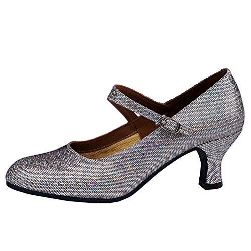 Oasap Women's Ankle Strap Sequins Latin Dance Shoes Deep Grey