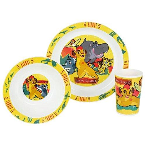 FUN HOUSE 005498 Disney Roi Lion Ensemble Repas Contenant 1 Assiette, 1 Bol et 1 Verre pour Enfant Polypropylène Jaune 26.5x8.5x24.5 cm