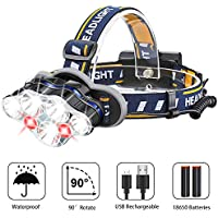Hoxida Head Torch Rechargeable, LED Headlamp with Red Light, Bright Headlight 8 Modes for Outdoor Camping Hiking Fishing