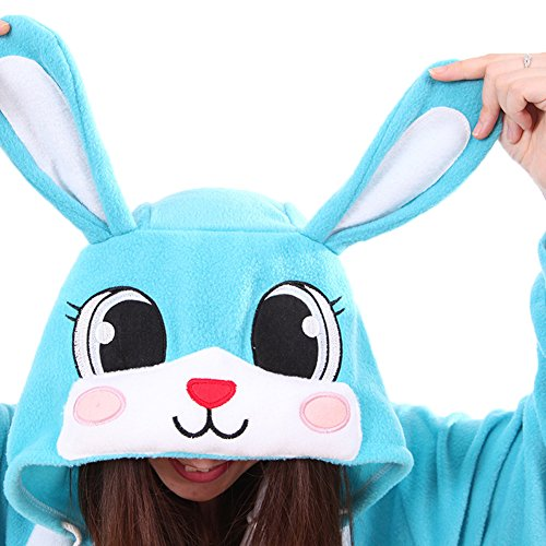Unisex Erwachsene Kinder Pyjamas Cosplay Nachtwäsche Osterhase Tier Onesie Kostüme Schlafanzug Tieroutfit tierkostüme Jumpsuit (M, Blau Hase)