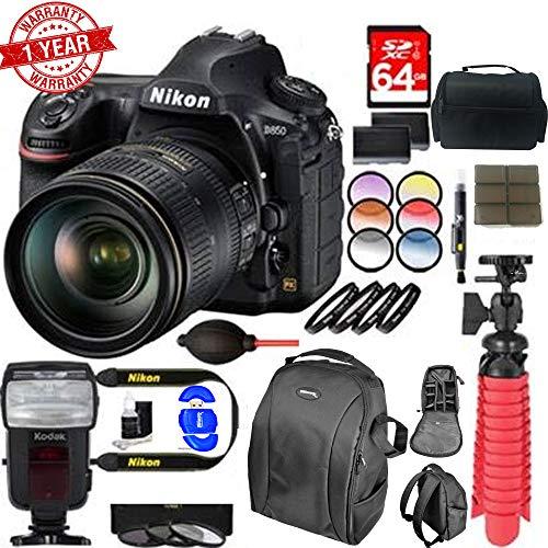 Nikon D850 45.7MP Digital SLR Camera with 24-120mm VR Lens Dual Battery Accessory Bundle