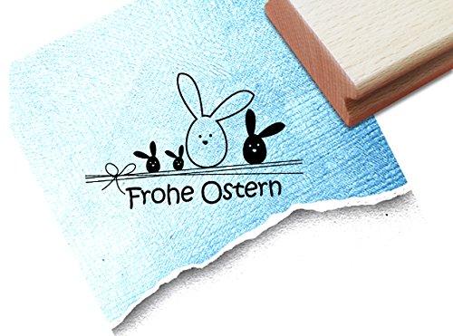 Stempel - Osterstempel FROHE OSTERN mit kleinen Hasen und Schrift für Ostergrüße auf der Osterkarte und mehr - Motivstempel für Kinder und Erwachsene