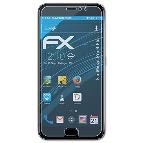 atFolix Schutzfolie kompatibel mit Meizu Pro 6 Plus Folie, ultraklare FX Bildschirmschutzfolie (3X)