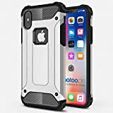 gahatoo iPhone X [10] Outdoor Case Hülle Ultra Slim [Hybrid TPU Silikon Hardcase] Handyhülle in Silber [Tactical Military Defender]