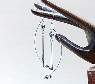 Boucles d'oreilles géométriques modernes contemporaines, hématite et acier inoxydable (A19)