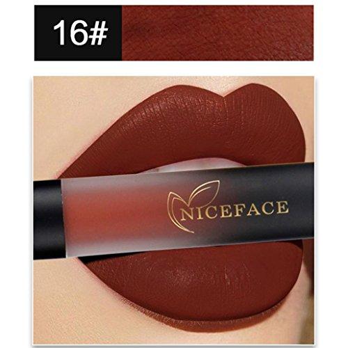 Lippenstift Matt, HUIHUI Lipstick Schönheit Lippe Gloss Long Lasting Moisturizing Lippenstift Lip Gloss Fashionable Colors Matte Liquid Lipstick (16 #) (Zu Halloween-make-up Kaufen)