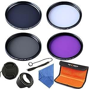 K & F Concept 62mm Slim UV Slim CPL Slim FLD ND4 Lens Filter Kit UV Protector Circular Polarizing Filter Neutral Density ND Filter For Sigma 18-200mm f/3.5-6.3 II DC 18-250mm 70-300mm 28-300mm 18-125mm Lens + Cleaning Cloth + Flower Petal Lens Hood + Lens Cap + Cap Keeper + Filter case