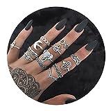 AMDXD 13 Stücks Ringe Set für Damen Buddha Krone Elefant Blume Midi Ring Silber Ringset Boho