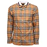 BURBERRY 5473AA Camicia Uomo Edward Cotton Brown Check Shirt Man [S]