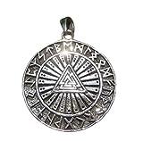 Himalayan Treasures Plata 925 Viking Norse Valknut Runas Triquetra Collar colgante A6