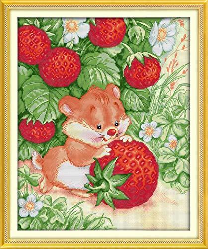 Stickerei-Set mit Rattenpicking Erdbeeren auf Leinwand DMC chinesisches Kreuzstich-Set, Kreuzstich-Set, Stickerei, Stickerei 14CT picture printed -