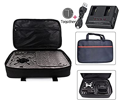 Togather® Nylon Outdoor Sport Travel Handbag Bag Carrying Case and extra 1pcs 2-in-1 battery charger for Hubsan X4 H107D+ H107D H107C+ H107C H107L RC Quadcopter