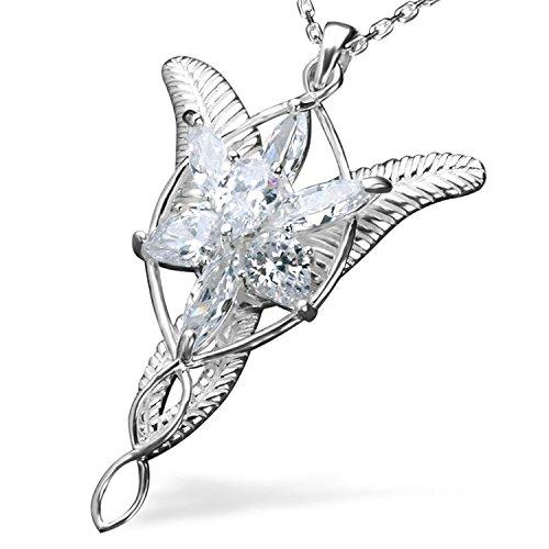 Collar con Colgante de Plata de Ley, diseño de Arwen Evenstar, de «El Señor de los Anillos».