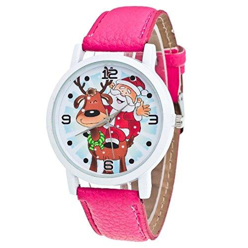 Zolimx Weihnachten Älteres Muster Lederband Analog Quartz Vogue Uhren (Hot Pink)