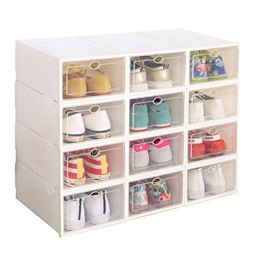 Schuhbox, 12er-Set Damen Schuhkasten Faltbare Halter Clear Plastik Transparent Weiß