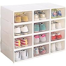 12 cajas de zapatos para mujer, apilables, plegables, plástico, transparente blanco