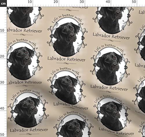 Schwarz, Labrador, Labor, Retriever, Hund, Haustier, Tier Stoffe - Individuell Bedruckt von Spoonflower - Design von Pateisen Gedruckt auf Bio Musselin -