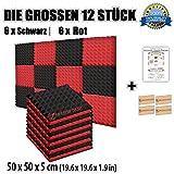Super Dash Kombination (12 Pack) von 50 X 50 X 5 cm Rot & Schwarz Pyramide Akustikschaumstoff Noppenschaumstoff Akustik Dämmmatte Schallisolierung Schaumstoff Polster Fliesen SD1034 (ROT & SCHWARZ)