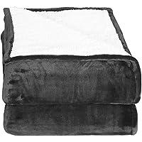 Mantas reversibles de franela Sherpa Flannel (150 x 200 cm) - Gris - Tela de cepillo extra suave, Manta de cama súper cálida, Manta de sofá acogedora y ligera, Cuidado fácil - de Utopia Bedding