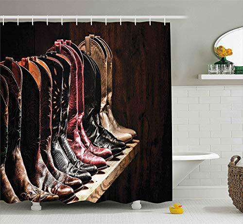 MLNHY Western Shower Curtain, Photograph of Various Type of Rodeo Cowgirl Leather Boots Image Art Western Fashion, Cloth Fabric Bathroom Decor Set with Hooks, Brown,Size:60W X 72L Inche (Tall Boot Button)