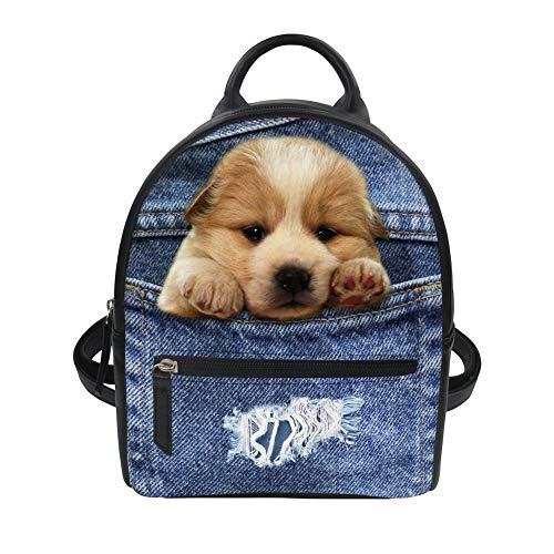 3D Blue Denim Teddy Dog Kleiner Rucksack für Frauen Durable Knapsack (Color : Blue Puppy Dog, Size : -)