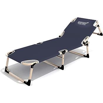 FLYR Chaise Longue Lit Pliant Pliante Pause Dejeuner De Camp Repos Simple Palier Charge Eleve Angle Reglable