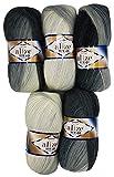 Confezione da 5 gomitoli di lana per lavori a maglia e all'uncinetto. Ogni gomitolo ha un peso di 100 grammi, in totale 500 grammi. Ogni gomitolo misura in lunghezza 480 m, per un totale di 2400 m. La lana è composta da 60% acrilico e 40% lana. Indic...
