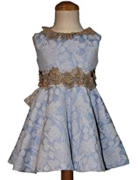 CARMEN VAZQUEZ Vestido Tejido Jacquard en Tonos Azules, Cinturón con Apliques de Flores.