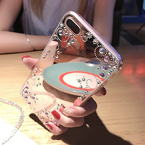iPhone X Hülle,iPhone X Schutzhülle,JAWSEU [Glitzer Strass Diamant Spiegel Hülle] iPhone X Silikon Hülle TPU Schutzhülle Silikon Handyhülle Tasche Case Cover,Luxus Glänzend Shiny Kristall Strass Rahme Blumen#1