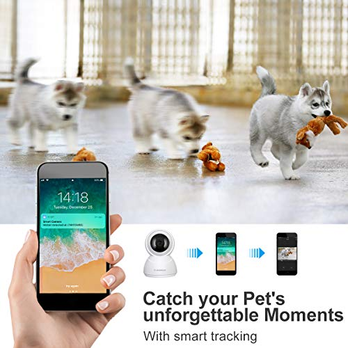 FLOUREON 1080P 2,0 MP HD IP Kamera WLAN Überwachungskamera Netzwerkkamera Baby Monitor, Pan/Tilt, H.264 CCTV Sicherheitskamera mit Mikrofon, Bewegungserkennung, Nachtsicht, Unterstützt Mikro SD Karte