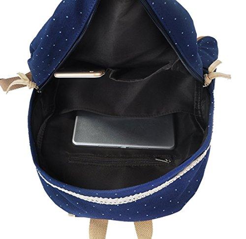 G2Plus Leichte Schulrucksack mit Polka Dots Nette Canvas Schultaschen Damen Mädchen EXTRA Groß Kinderrucksack Daypacks Rucksäcke Modische mit Laptop Fach 28 * 42 * 13 cm – Little Princess (Blau 1) - 6