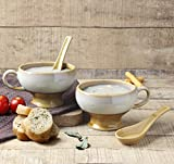 #9: Studio Pottery Handcrafted Set of 2 Soup Bowl Mug Drip Glazed Brown - 310 ml Each