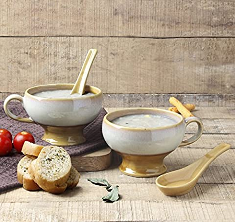 2-Piece Ceramic Soup Bowl Studio Pottery for Supper Noodles Cereal Handcrafted with Spoon Mug Cup Serveware