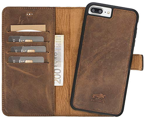 Solo Pelle iPhone 7 Plus / 8 Plus abnehmbare Lederhülle (2in1) inkl. Kartenfächer für das original iPhone 7 Plus / 8 Plus in Vintage Braun Flex-Wallet -