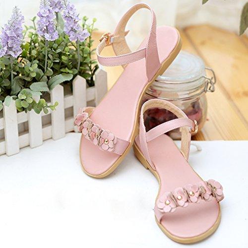 YE Damen Flache Knöchelriemchen Sandalen Offen ohne Absatz mit Schnalle und Blumen Bequem Schuhe Rosa