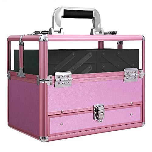 SONGMICS Kosmetikkoffer für Visagisten, Abschließbarer Make up Koffer mit Acryl Deckel, Professionelle Schminkkoffer mit Breiten Handgriff, Purpur JBC318PL